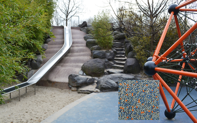 Multicolored play surfacing and a natural stone stair engage kids on different levels.